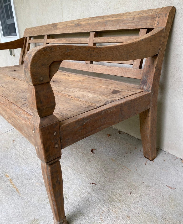 Antique Colonial Teak Wood Daybed Bench For Sale 1