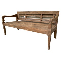 Antique Colonial Teak Wood Daybed Bench