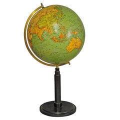 Antique Colorful Earth Globe Published by Wegweiser, circa 1930