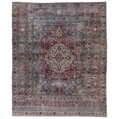 Antique Colorful Persian Khorassan Rug, Red Pink Green and Ivory Tones