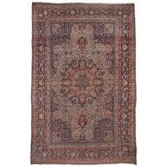 Antique Colorful Persian Lavar Kerman Carpet, Colorful Palette, Center Medallion