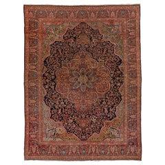 Antique Colorful Persian Sarouk Farahan Carpet, Colorful Palette