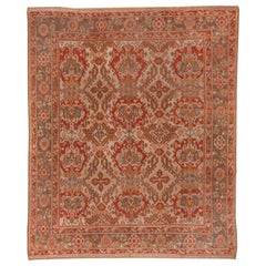 Antique Colorful Turkish Oushak Carpet, Allover Field, Colorful Palette