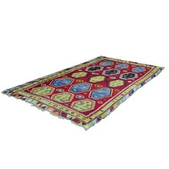 Antique Colorful Turkish Sarkisla Kilim Rug, circa 1930