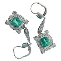 Antique Columbian Emerald and Diamond Drop Earrings
