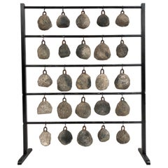 Antique Concrete and Iron Fishing Net Weights Custom Display
