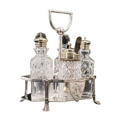 Antique Condiment Serving Set, English, Silver Plate, Table, Ashbury, Edwardian