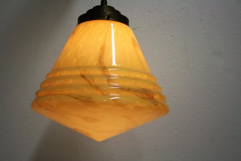 Antique Conical Marbled Pendant Light, 1930s For Sale 3