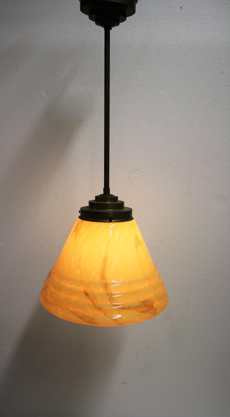 Antique Conical Marbled Pendant Light, 1930s For Sale 1