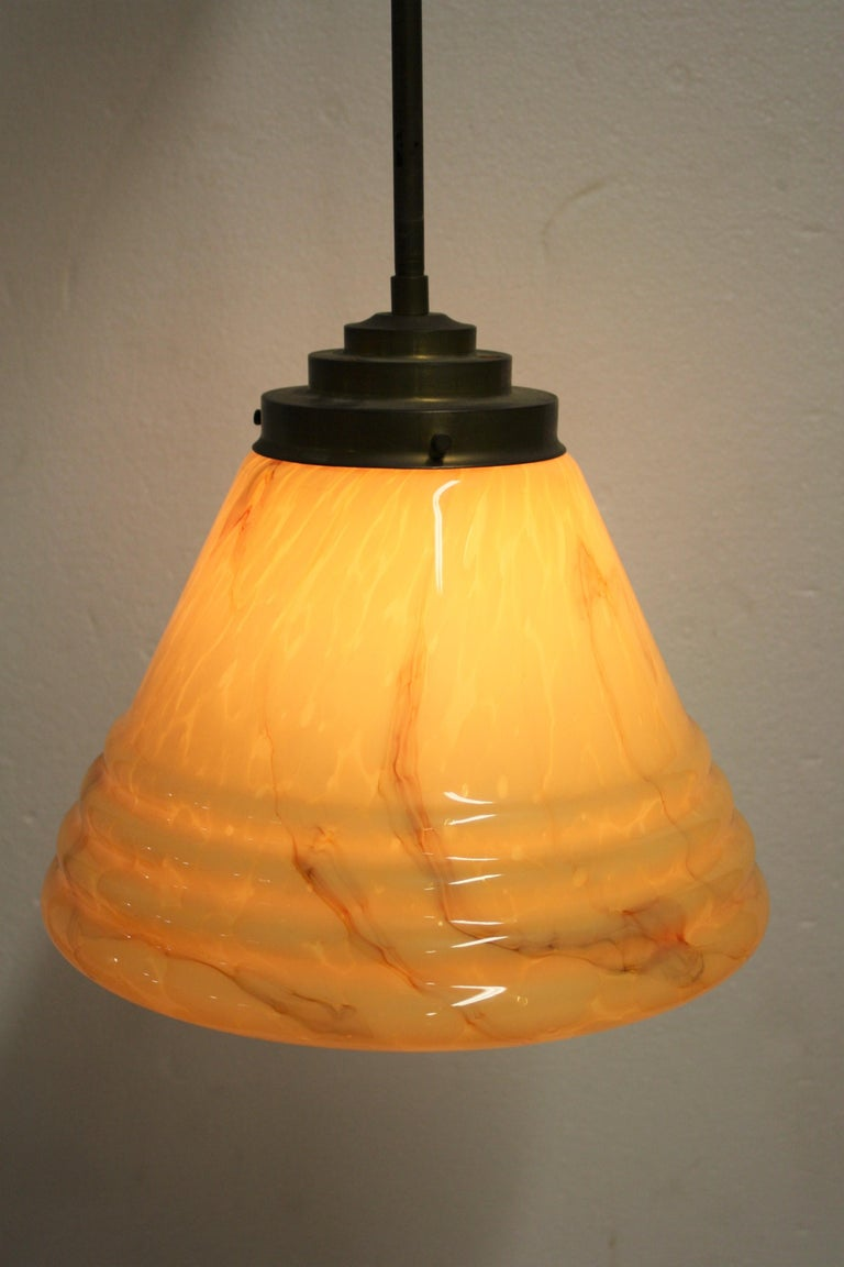Antique Conical Marbled Pendant Light, 1930s For Sale 2