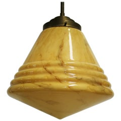 Antique Conical Marbled Pendant Light, 1930s
