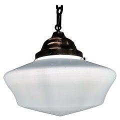 Antique Conical Opaline Pendant Lights, 1930s
