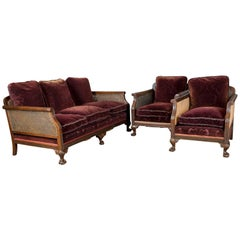Antique Conservatory Suite, Bergère Sofa and Two Chairs, Edwardian, English