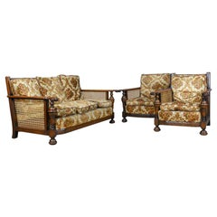 Antique Conservatory Suite, Oak, Bergere, Three-Seat Sofa, Two Chairs