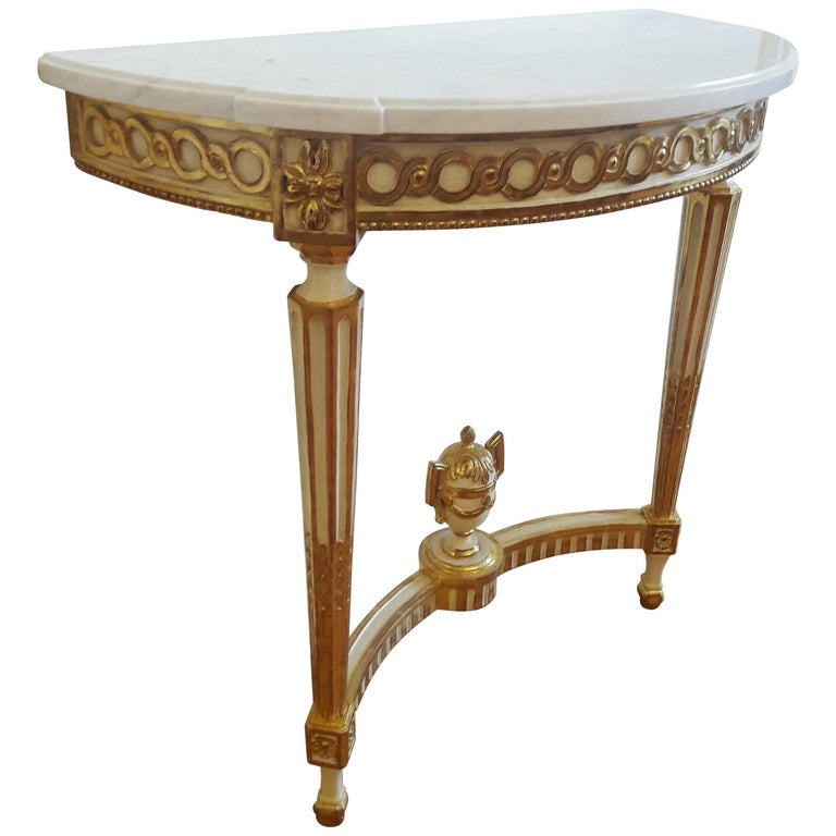 Antique Console Louis XVI Style, Carrara Marble and Gold Leaf