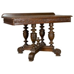 Antique Console Table, English, Oak, Victorian, Side, 19th Century, circa 1880