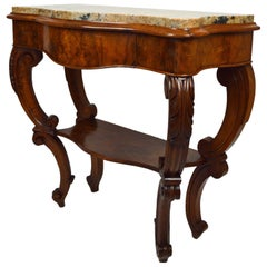 Antique Console Table in Carved Walnut with Marble Top, France, 19th Century
