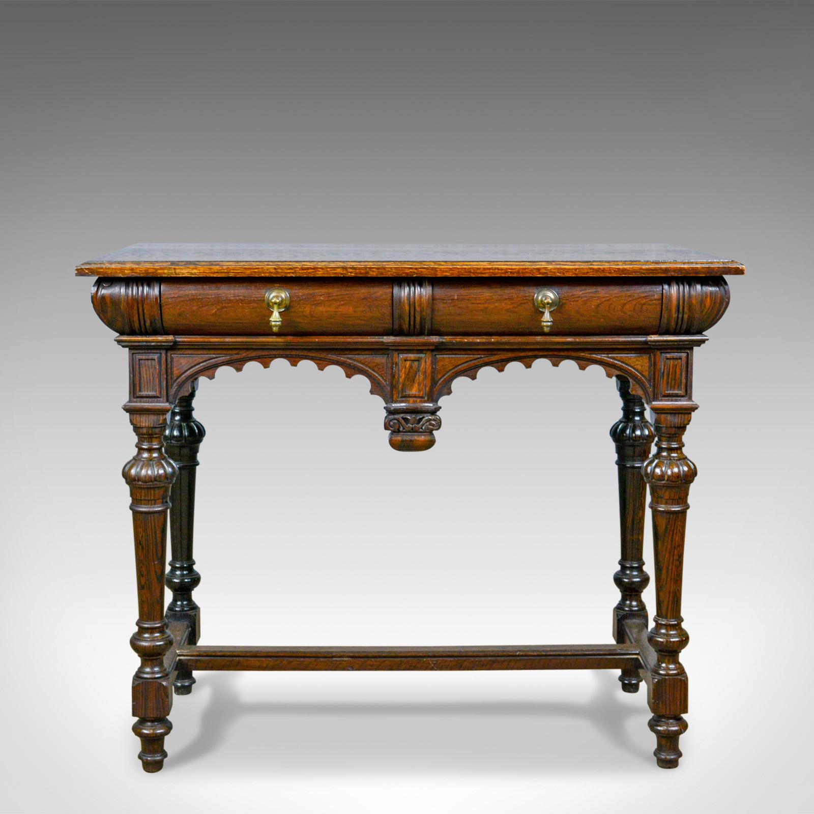 Charmant Antique Console Table, Irish, Oak, Side, Carved, Late 19th Century, Circa  1880