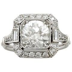 Antique Contemporary 2.89 Carat Diamond Platinum Engagement Ring