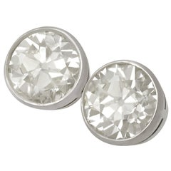 Antique Contemporary 6.10 Carat Diamond White Gold Stud Earrings