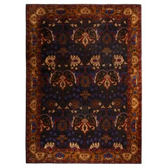 Antique Continental Bidjar Blue and Gold Wool Floral Rug