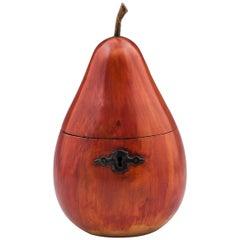 Antique Continental Blushing Pear Tea Caddy 19th Century
