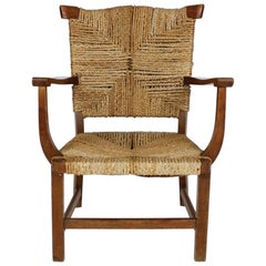 Antique Continental Braided Rush and Oak Lounge Chair