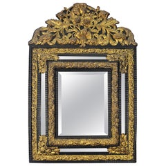 Antique Continental Brass and Ebonized Wood Mirror