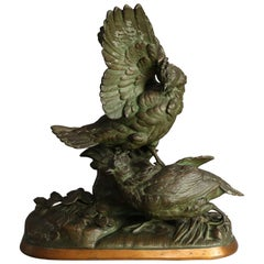 Continental Bronzed Metal Figural Pheasant Sculpture Grouping, circa 1900