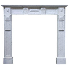 Antique Continental Carara Marble Fire Surround