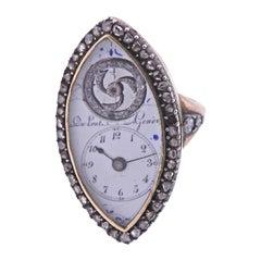 Antique Continental Circa 1850s Gold Silver Diamond Watch Ring