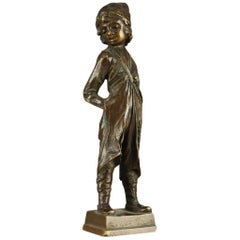Antique Continental Figural Bronze Cabinet Sculpture of Boy, Signed Beck