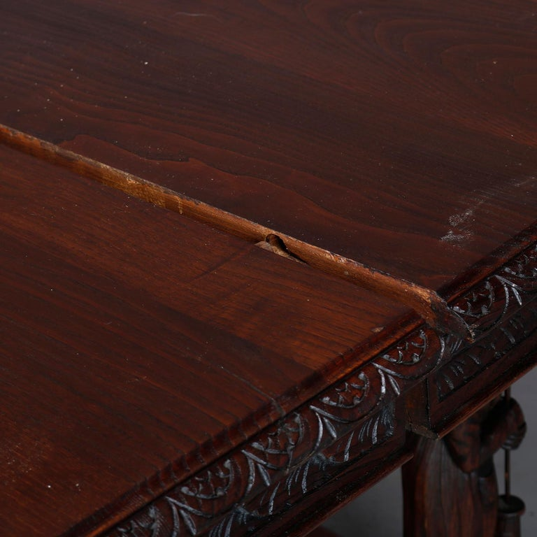 Antique Continental Figural Carved Oak Extension Dining Table and Leaves 5