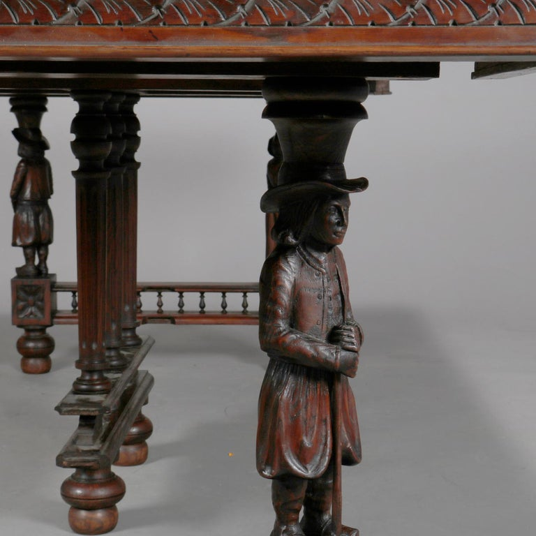 European Antique Continental Figural Carved Oak Extension Dining Table and Leaves