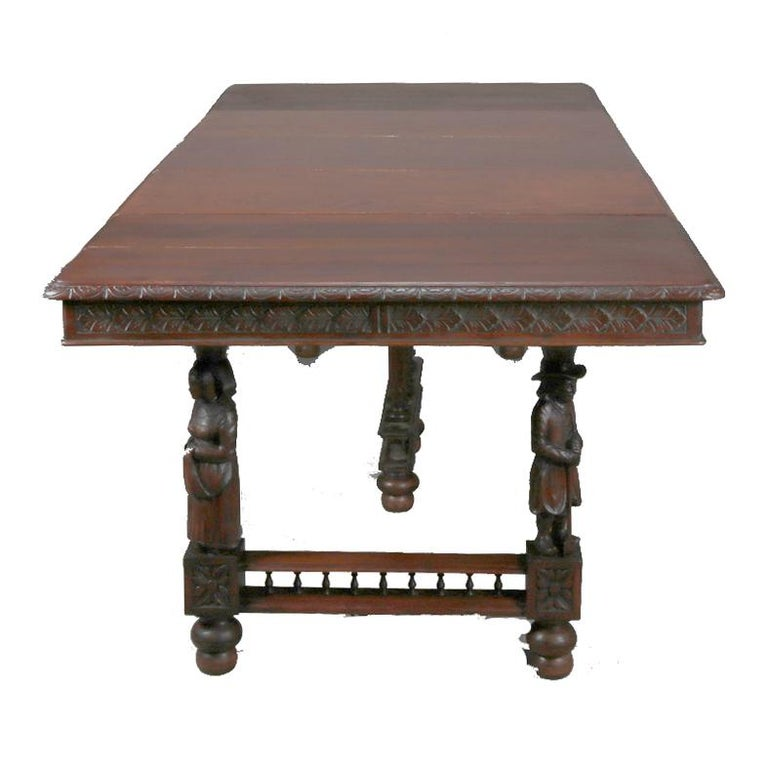 19th Century Antique Continental Figural Carved Oak Extension Dining Table and Leaves