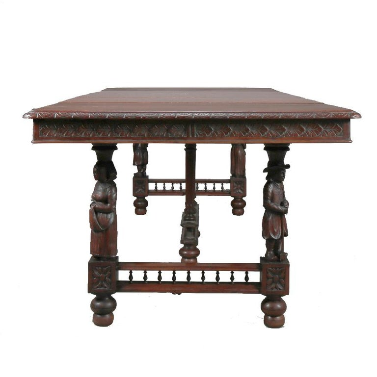 Wood Antique Continental Figural Carved Oak Extension Dining Table and Leaves