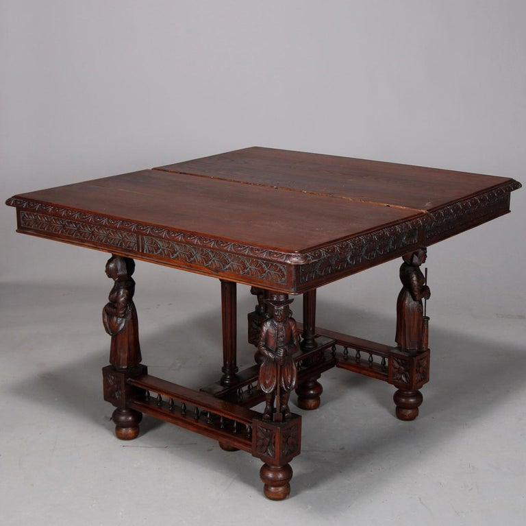 Antique Continental Figural Carved Oak Extension Dining Table and Leaves 1