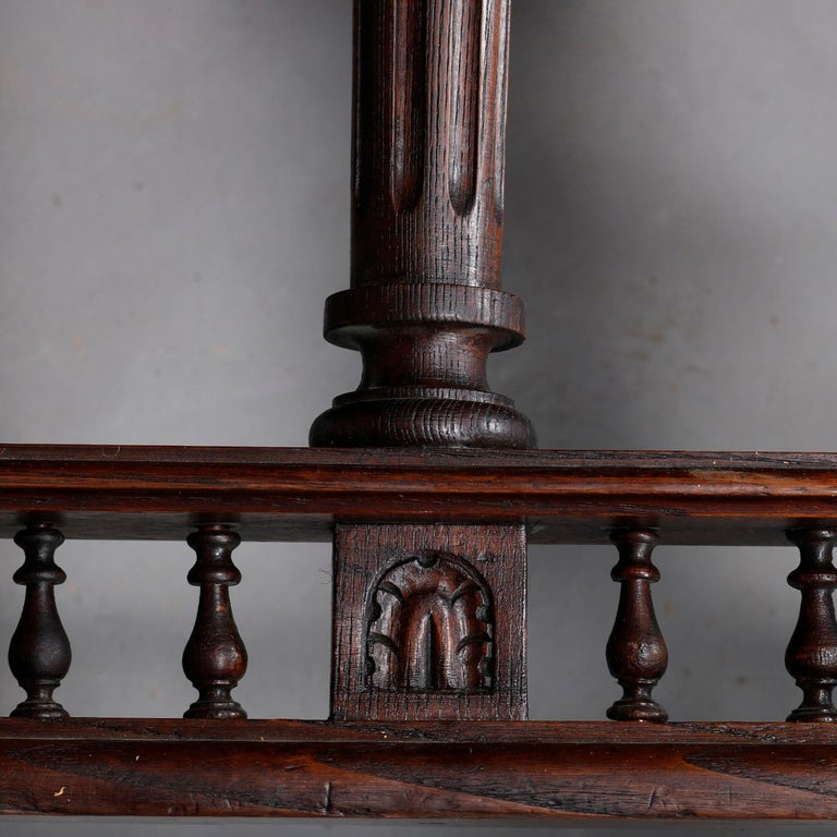 Antique Continental Figural Carved Oak Extension Dining Table and Leaves 3