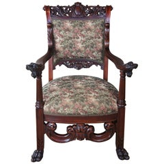 Antique Continental Figural Mahogany Parlor Chair Baroque High Relief Aubusson