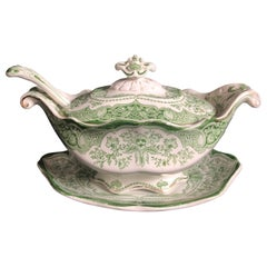 Antique Continental Green and White 4-Piece Gravy Boat
