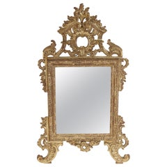 Antique Continental Louis XV Style Silver Leaf Mirror