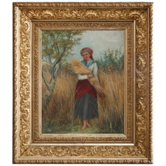 Antique Continental Maiden in Field Portrait Oil on Canvas Painting, circa 1890