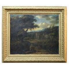 Antique Continental Oil on Canvas, Landscape Village Scene, Signed Warren, c1880