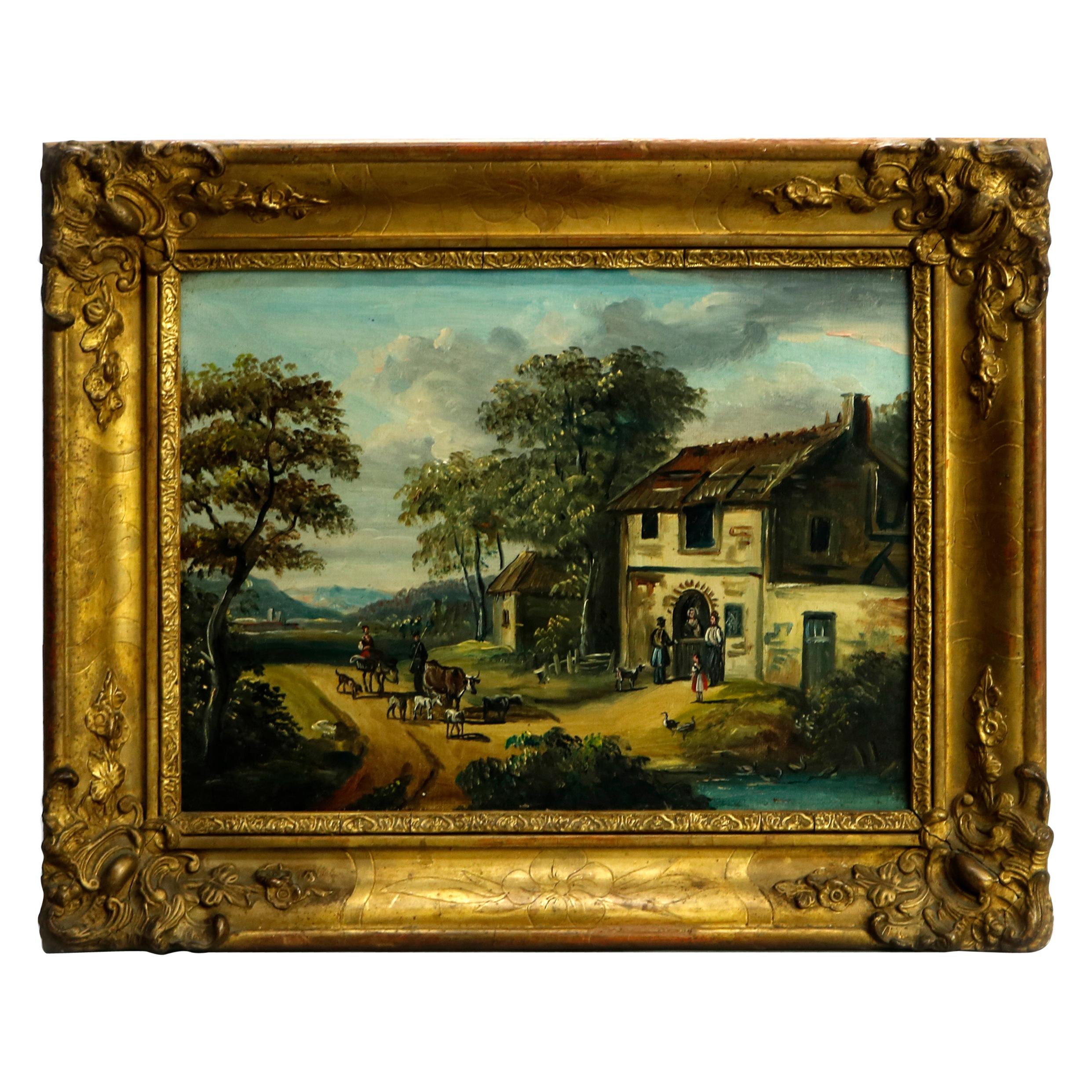 Antique Continental Oil on Canvas Painting, Village Scene in Giltwood, c1860