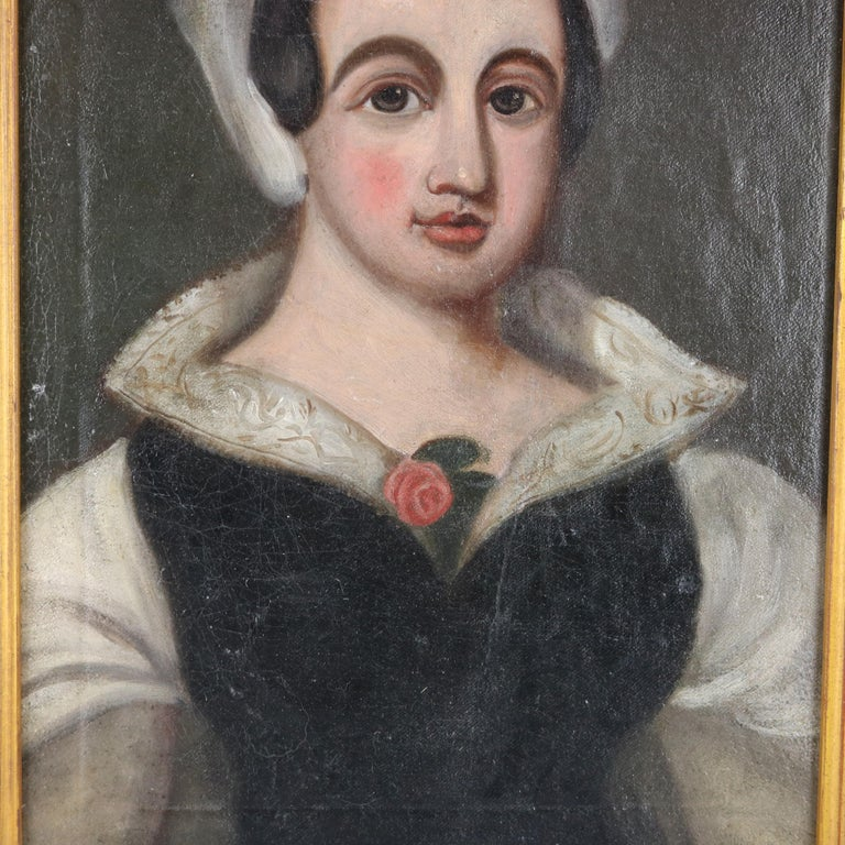 Carved Antique Continental Oil on Canvas Portrait Painting of Young Woman, 19th Century For Sale