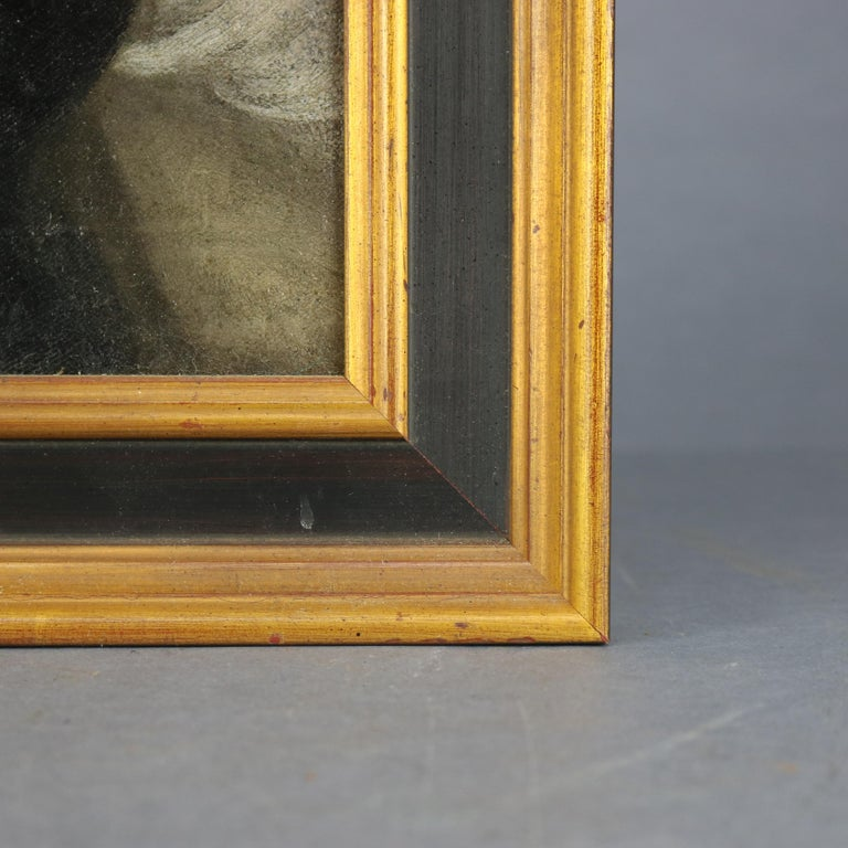 Antique Continental Oil on Canvas Portrait Painting of Young Woman, 19th Century For Sale 3