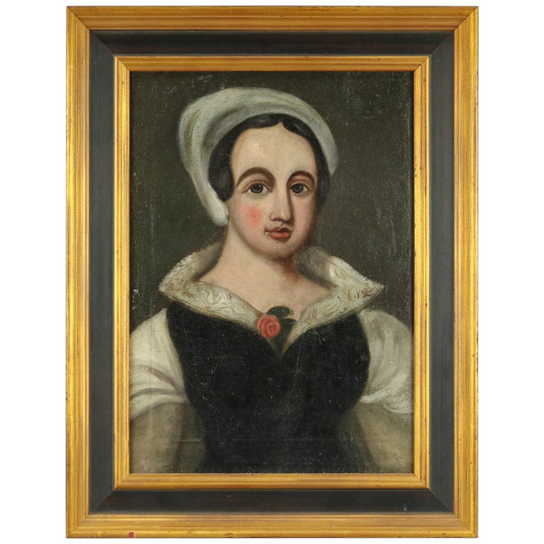 Antique Continental Oil on Canvas Portrait Painting of Young Woman, 19th Century For Sale