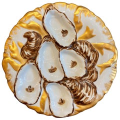 Antique Continental Porcelain Turkey Pattern Oyster Plate, circa 1890s