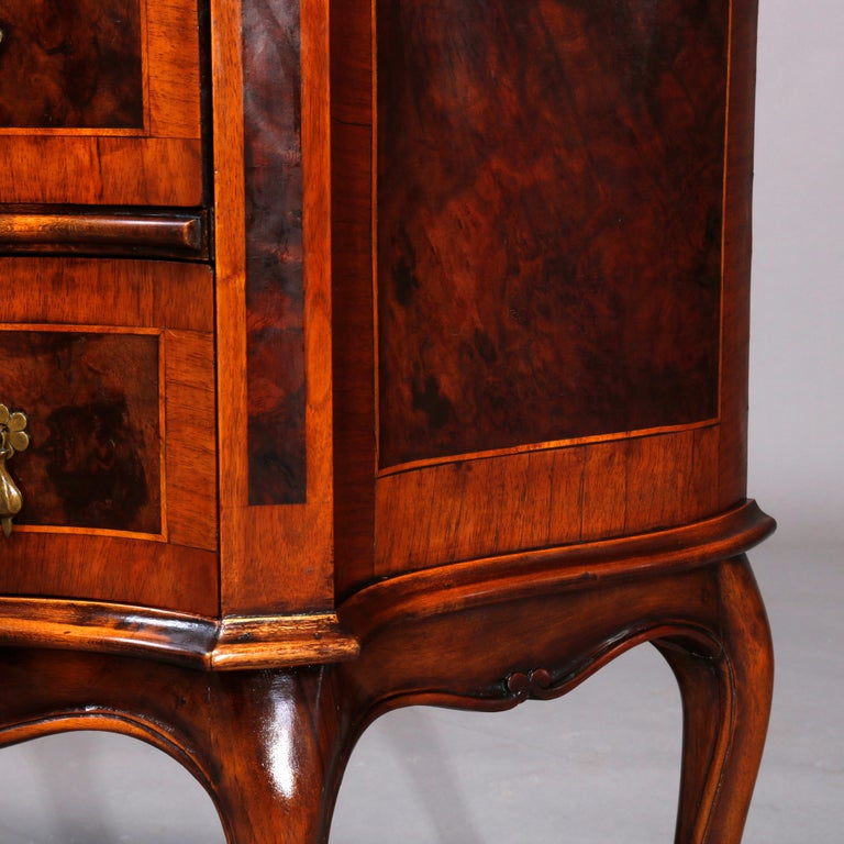 Antique Continental Serpentine Burl Inlaid Walnut Crossbanded Chest, circa 1830 In Good Condition In Big Flats, NY