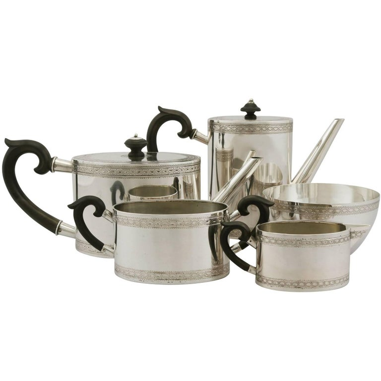 Antique Continental Silver Five-Piece Tea and Coffee Service For Sale